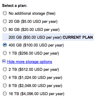 Google storage plan ใหม่